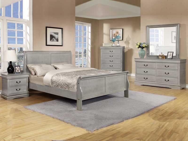5 Pc Louis Phillipe Grey Queen Bedroom Set  Bedroom Ideas 3 Cool Bedroom Sets Queen Design Decoration
