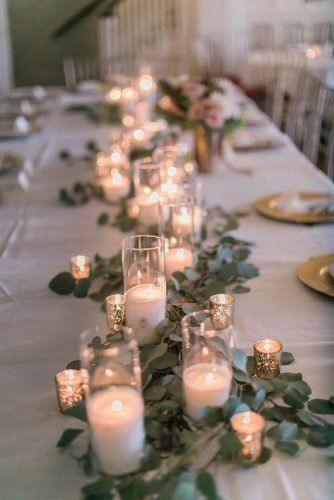 Outstanding Wedding Table Decorations wedding table decorations white candle tablerunner with greenery courtneyinghram