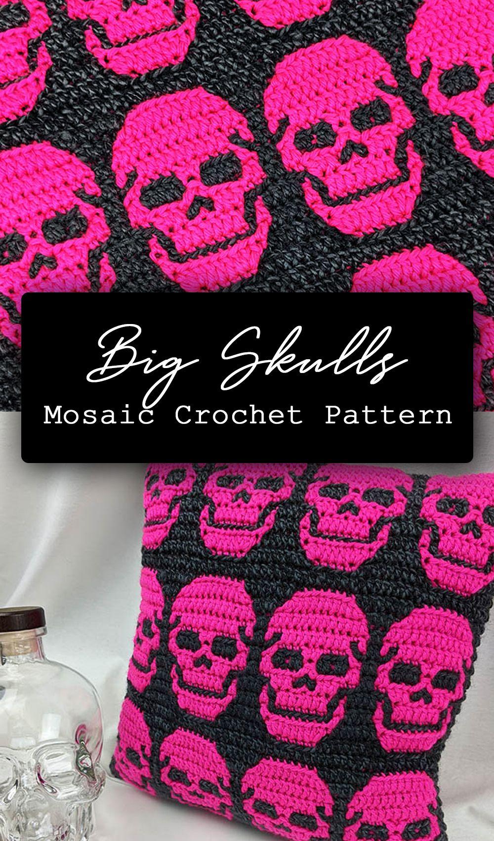 Big Skulls Mosaic Crochet Pattern by Sixel