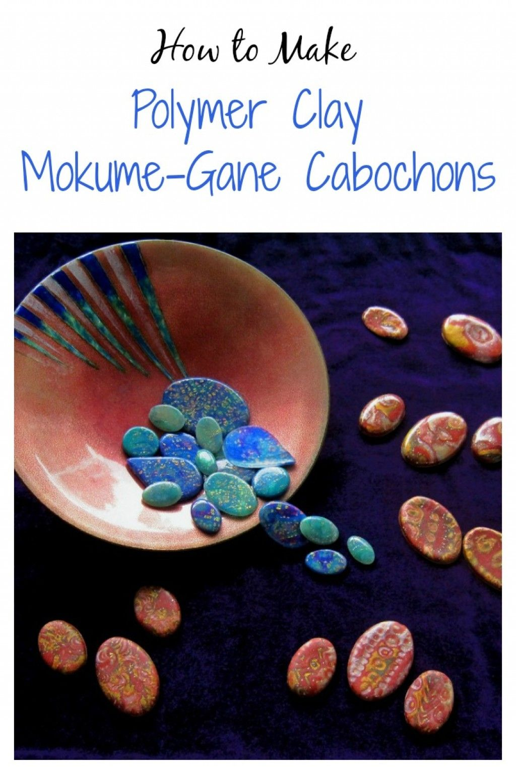 A polymer clay mokume gane tutorial with step-by-step instructions for making a mokume veneer sheet that can be used to cover polymer clay beads or other forms and how to create mokume gane cabochons.