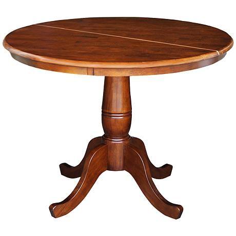 Luckow Light Espresso Extendable Pedestal Dining Table Kitchen