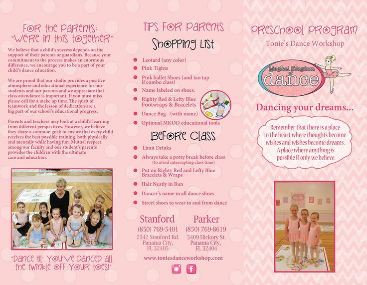 MKOD Pre-ballet Brochure - with customization Dance studio - studio brochure