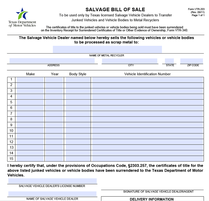 Texas Salvage Bill Of Sale Form Download The Free Printable Basic Bill Of Sale Blank Form Template Or Waiver In Microsoft Word Exc Salvage Bills Legal Forms