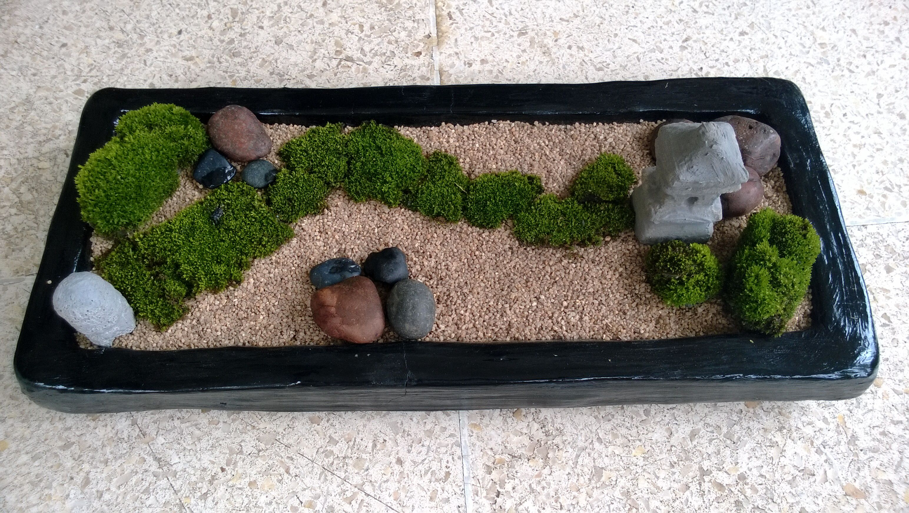 Black rectangle mini zen garden diy mini zen garden for Jardin zen miniature