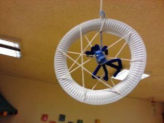 Spinnen basteln aus Wolle #spinnennetzbasteln