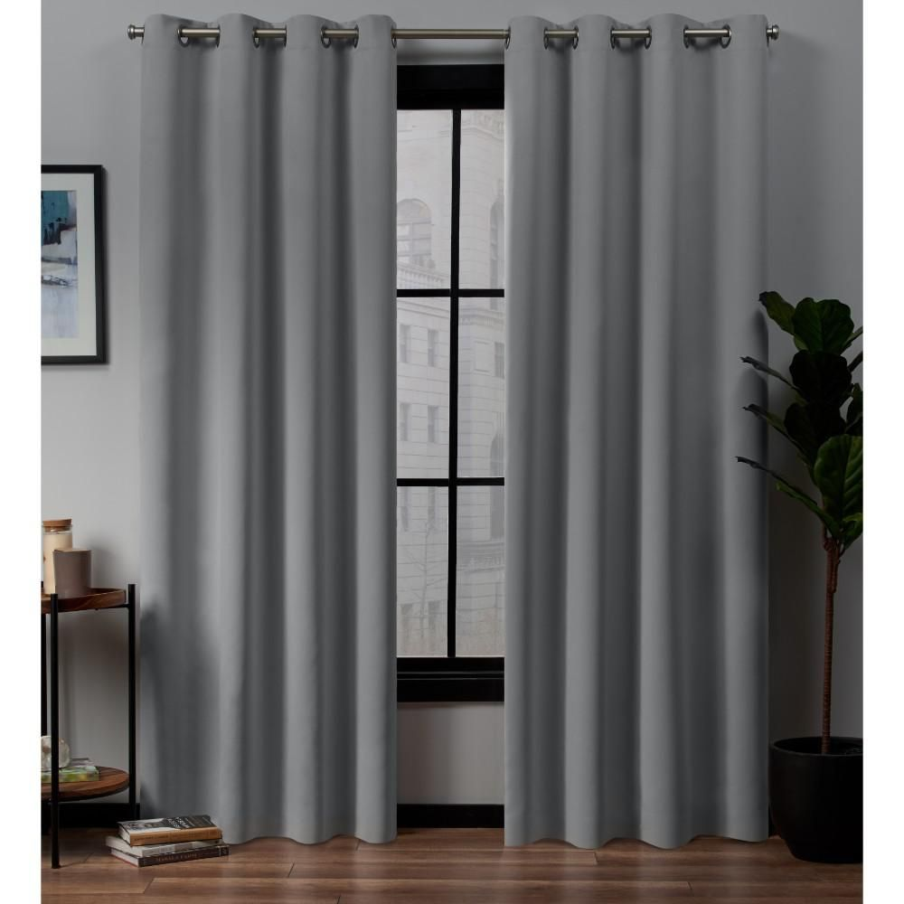 Exclusive Home Curtains Academy 52 In W X 84 In L Woven Blackout Grommet Top Curtain Panel In Silver 2 Panels Eh8282 02 2 84g Grommet Curtains Home Curtains Curtains