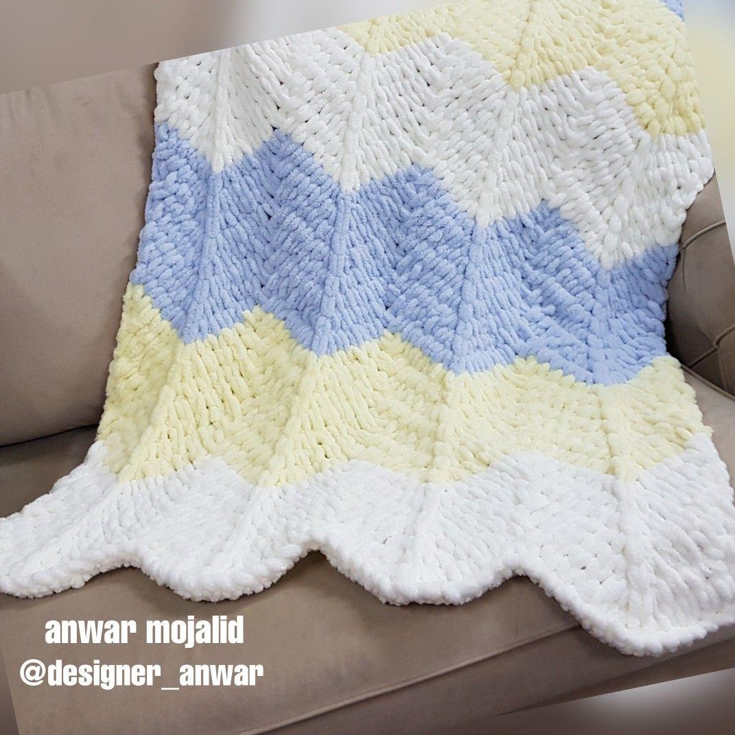 بطانية بغرزه الزقزاق بخيط اليزا بافي Throw Blanket Blanket Crochet Blanket