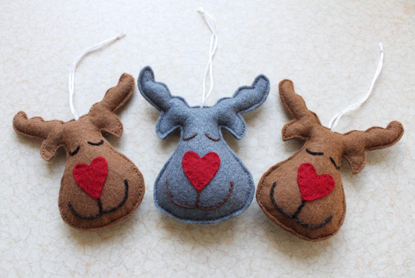 Renifery Filcowe Zabawki Na Choinke Felt Ornaments Christmas Christmas Diy