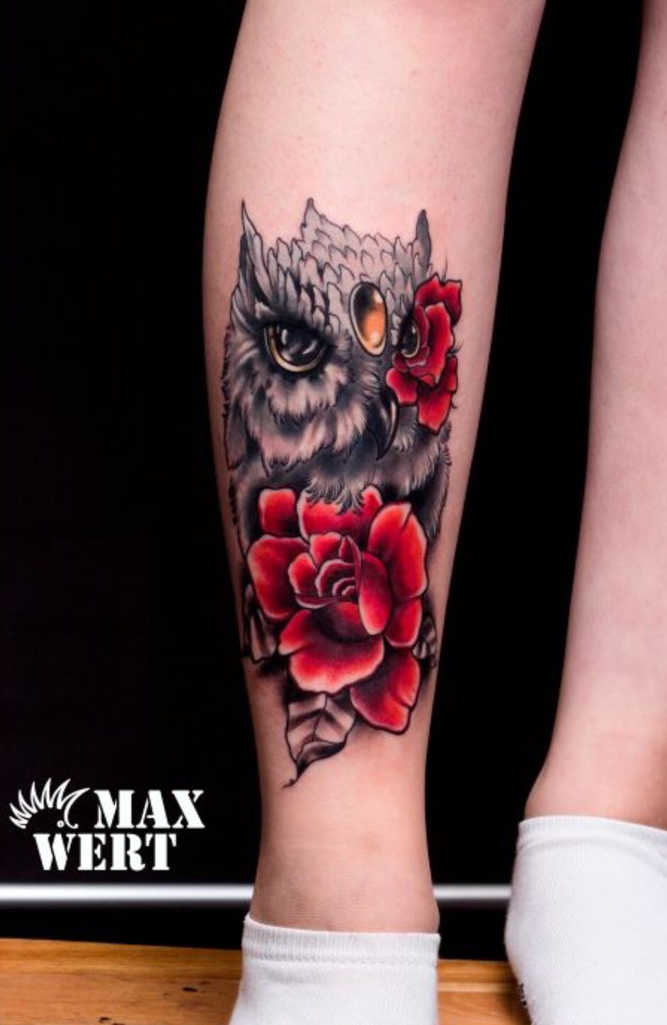owl roses cover up tat tattoos
