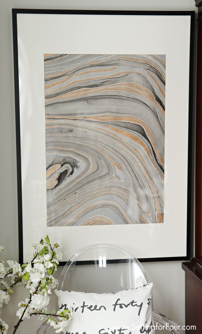 Diy Wall Art Idea Using Marbled Paper Setting For Four Diy