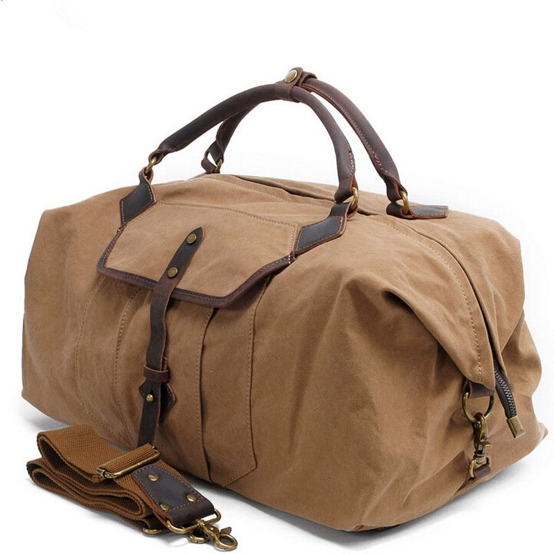 469610533b Canvas Crazy Horse Leather Men Travel Bags Carry on Luggage Bags Men Duffel  Bags Women Travel