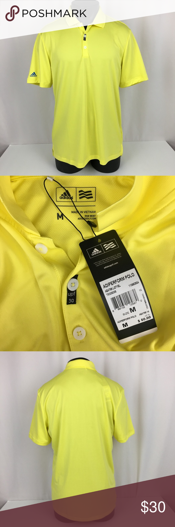 NWT adidas ADIPERFORM GOLF POLO SHIRT Men's Medium   Mens shirts ...