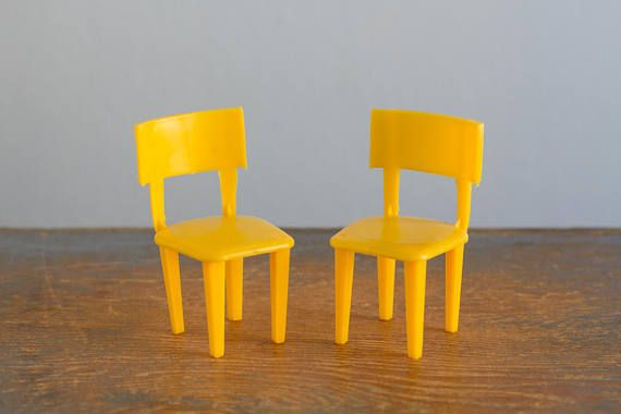 Pair Of Yellow Mpc Plastic Chairs 1 16 3 4 Inch Scale Vintage Dollhouse Furniture Petite Visions