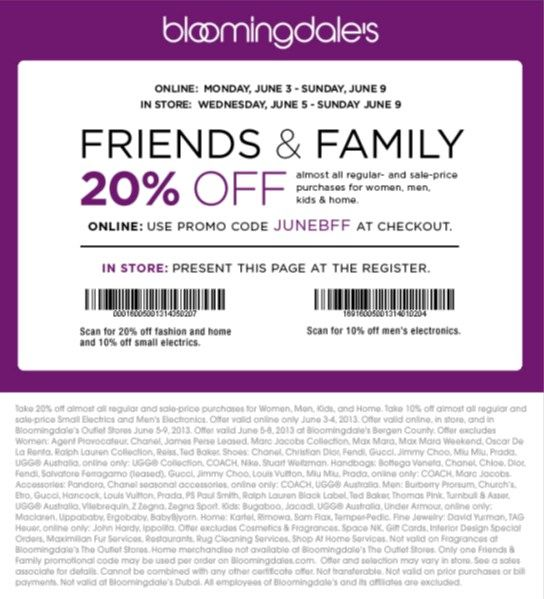 Bloomingdales Friends Family 20 Off Discount Coupon Promo Code June 2013 Beautystat Com Promo Codes Coding Discount Coupons