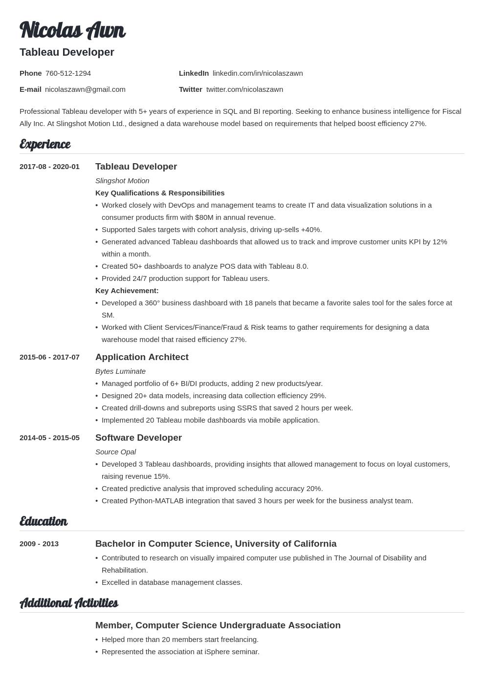 Tableau Developer Resume Example Template Valera Resume Examples Resume Layout Resume