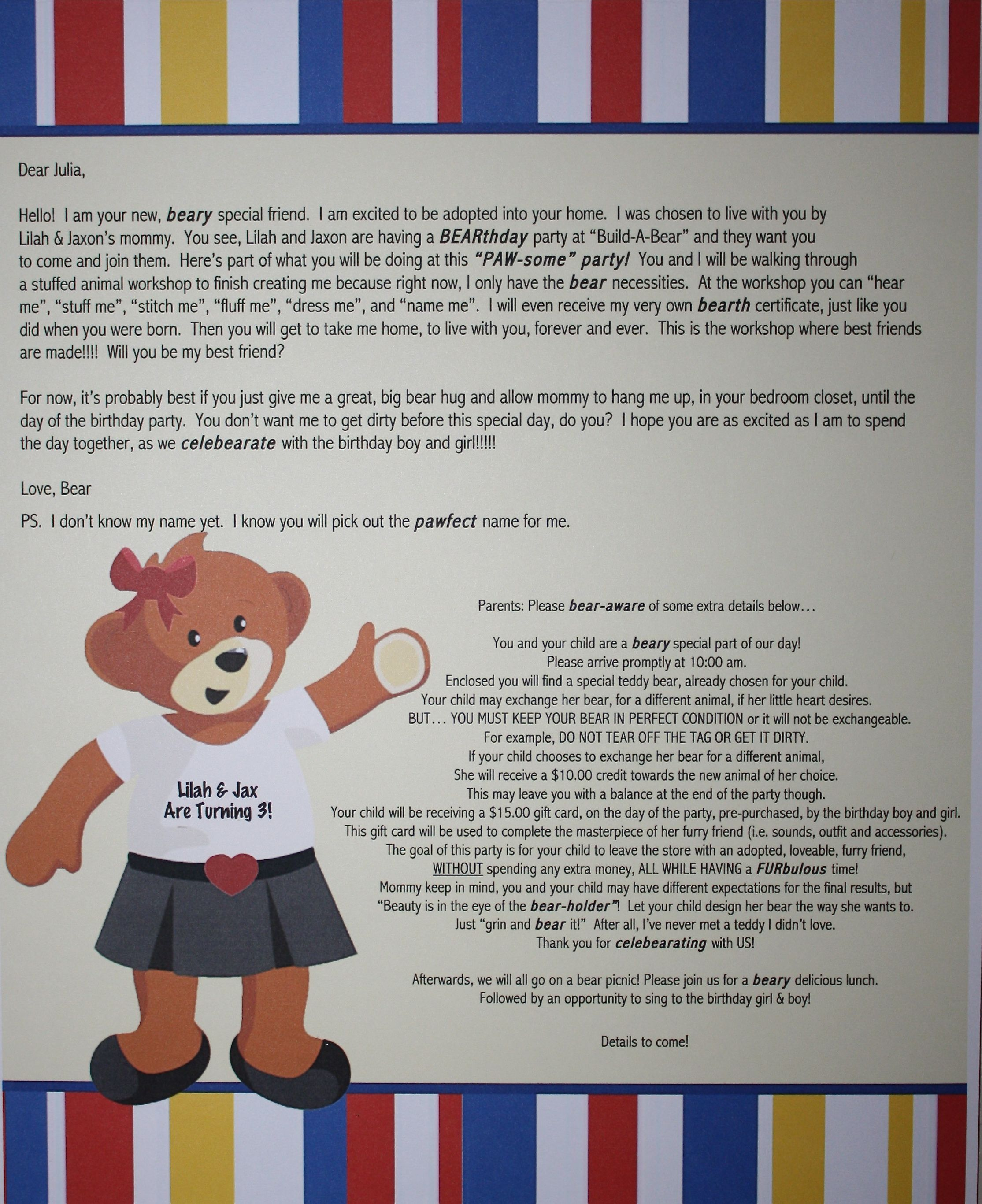 Build A Bear Invitation This was a letter sent to the girl