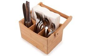 Core Bamboo Cutlery Caddy Free Returns Servilleteros De Madera Organizador De Cubiertos Hacer Muebles De Cocina