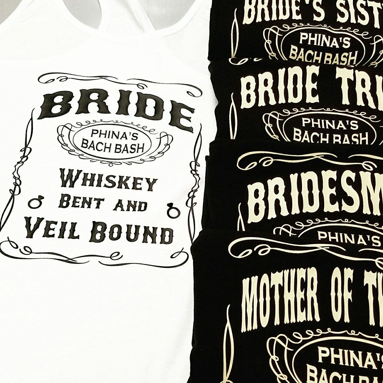 d5b8ed9bf2abe6 Another round of our Whiskey Themed Bachelorette Tanks heading out to  Nashville! These are perfect for a country bachelorette.