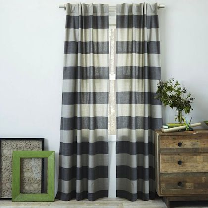 Canvas stripe curtain
