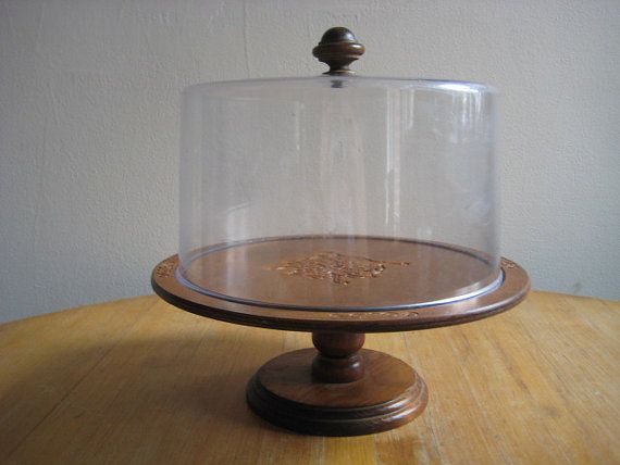 Vintage Wooden Cake Stand With Dome Cake Stand Love
