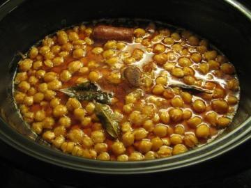 Imagen De La Receta Garbanzos Con Chorizo Crock Pot