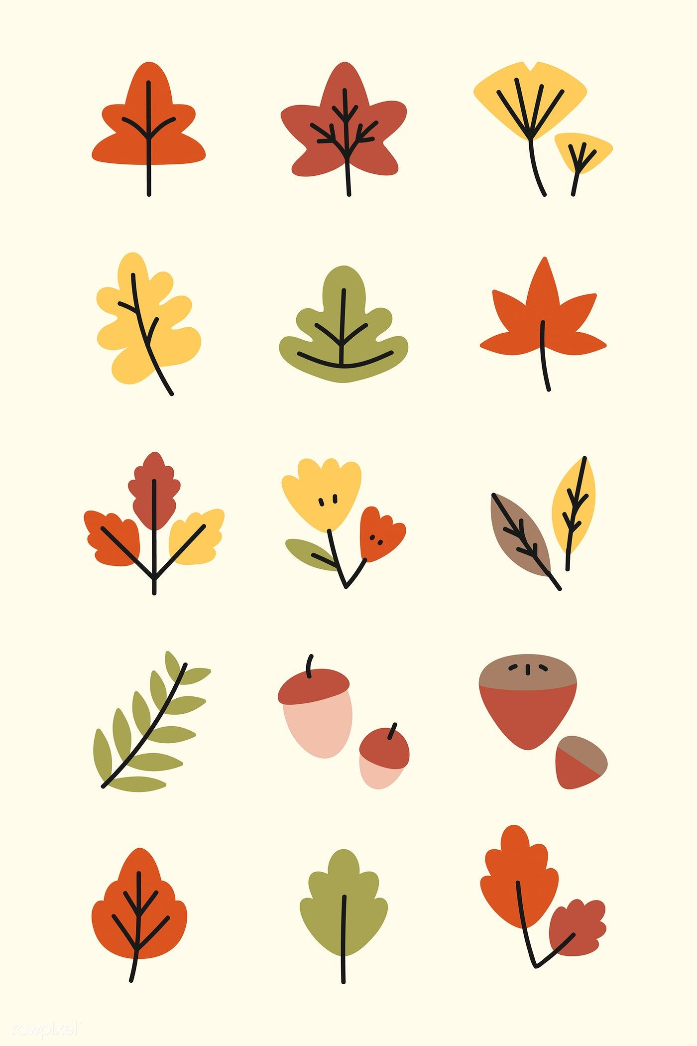 Colorful Autumn Leaves Vector Collection Free Image By Rawpixel Com Katie Moir Leaf Drawing Mini Drawings Leaves Vector