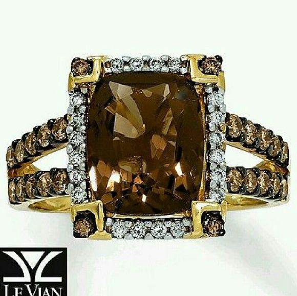 Le Vian Chocolate Quartz 1/2 ct tw Ring 14K Honey Le Vian Chocolate Quartz 1/2 ct tw Ring 14K Honey Gold size 6.75 Levian Jewelry Rings