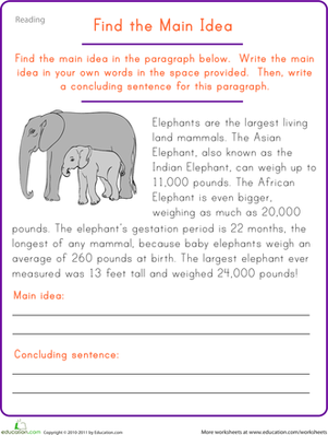 Worksheets Sentence Comprehension Worksheets find the main idea elephant comprehension reading fifth grade worksheets elephant