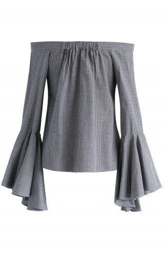 811295e8849a4 Dramatic Gingham Off-shoulder Top with Bell Sleeves - Tops - Retro ...