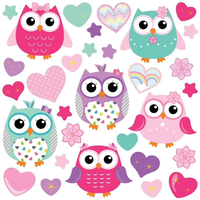 Photo of Colourful Owls Wall Stickers – Large