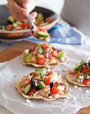 Grilled Greek Chicken Tostadas Recipe  - I've given a classic Mexican dish a fun Greek twist. A tost...
