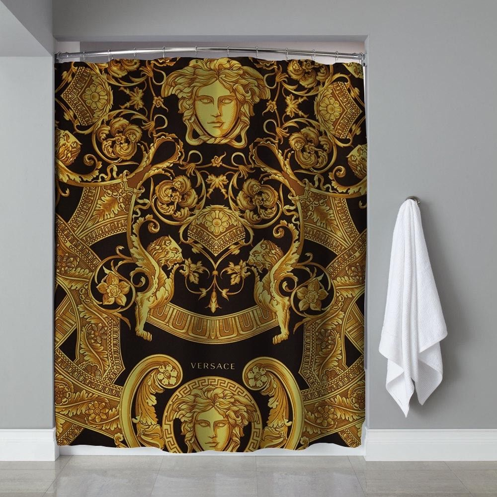 HOT-Versace Black And White Logo Shower Curtain Waterproof Limited Edition