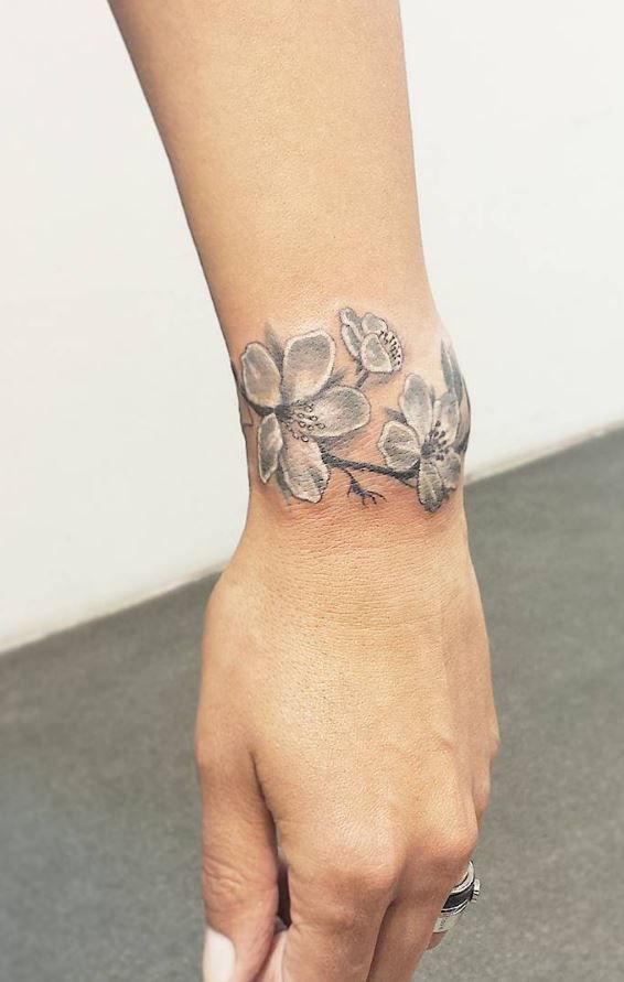 Gray Cherry Blossoms Tattoo - InkStyleMag