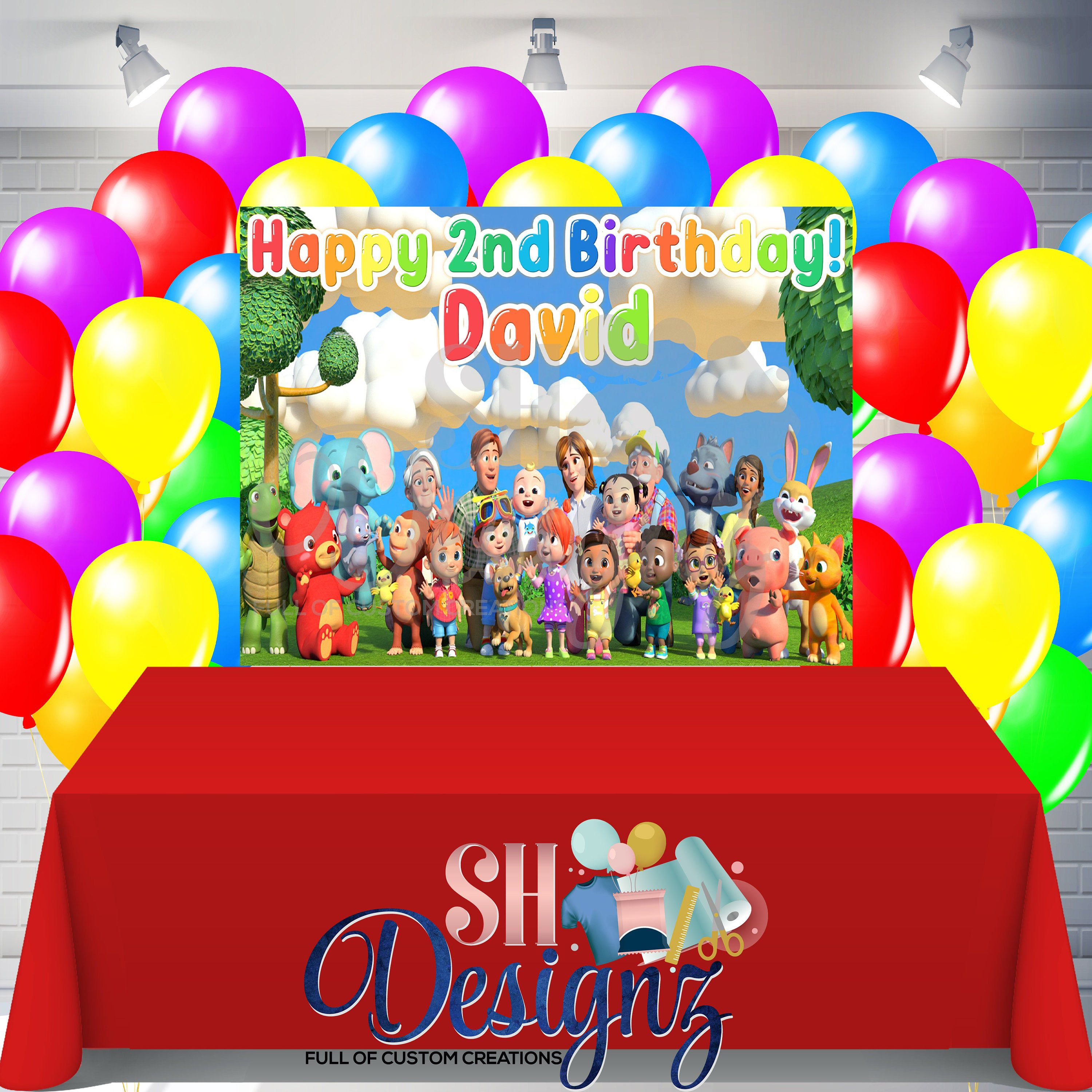 Vinil banner Printed and shipped or digital Cocomelon Birthday Backdrop