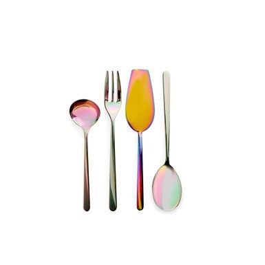 Iridescent serveware from ABC Home; from $75 per piece. [abchome.com](http://www.abchome.com/shop/iridescent-serving-utensils) These are cool!