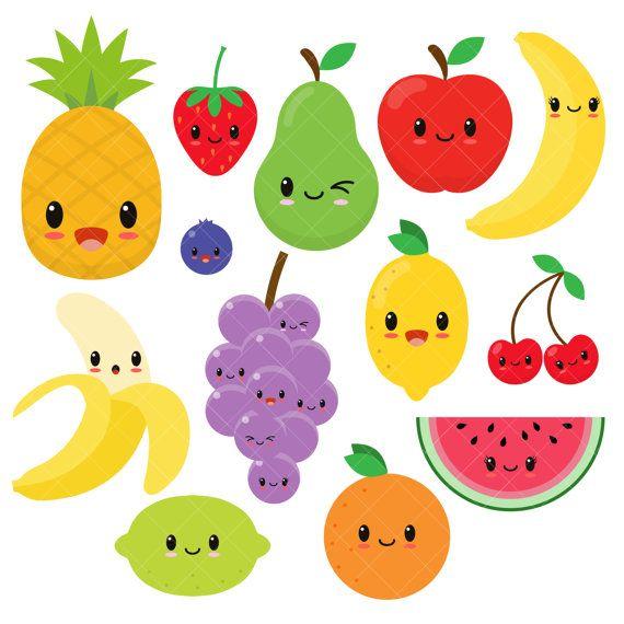 Kawaii Fruit Cute Fruit Clipart Happy Fruit Clip Art Etsy Kawaii Fruit Happy Fruit Fruit Clipart