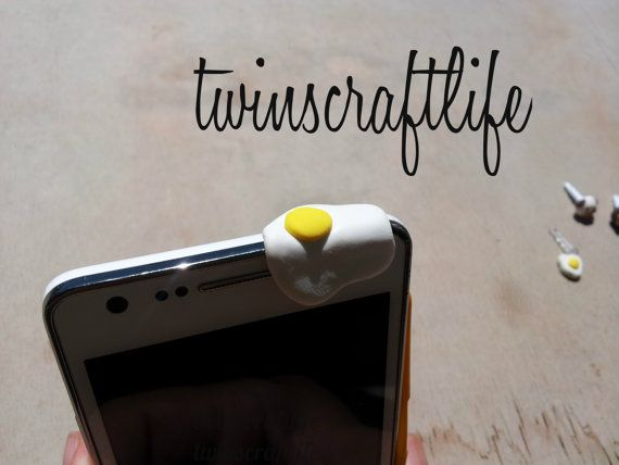 Ear dust plug  egg  phone charm by SoapliciousSoap on Etsy, $4.00