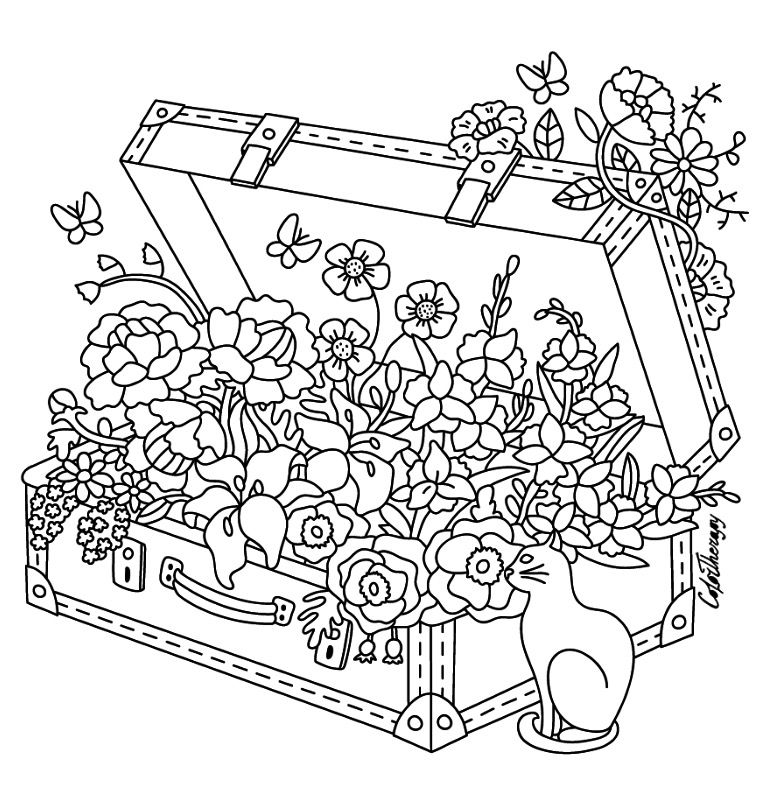 Suitcase With Flowers And Cat
