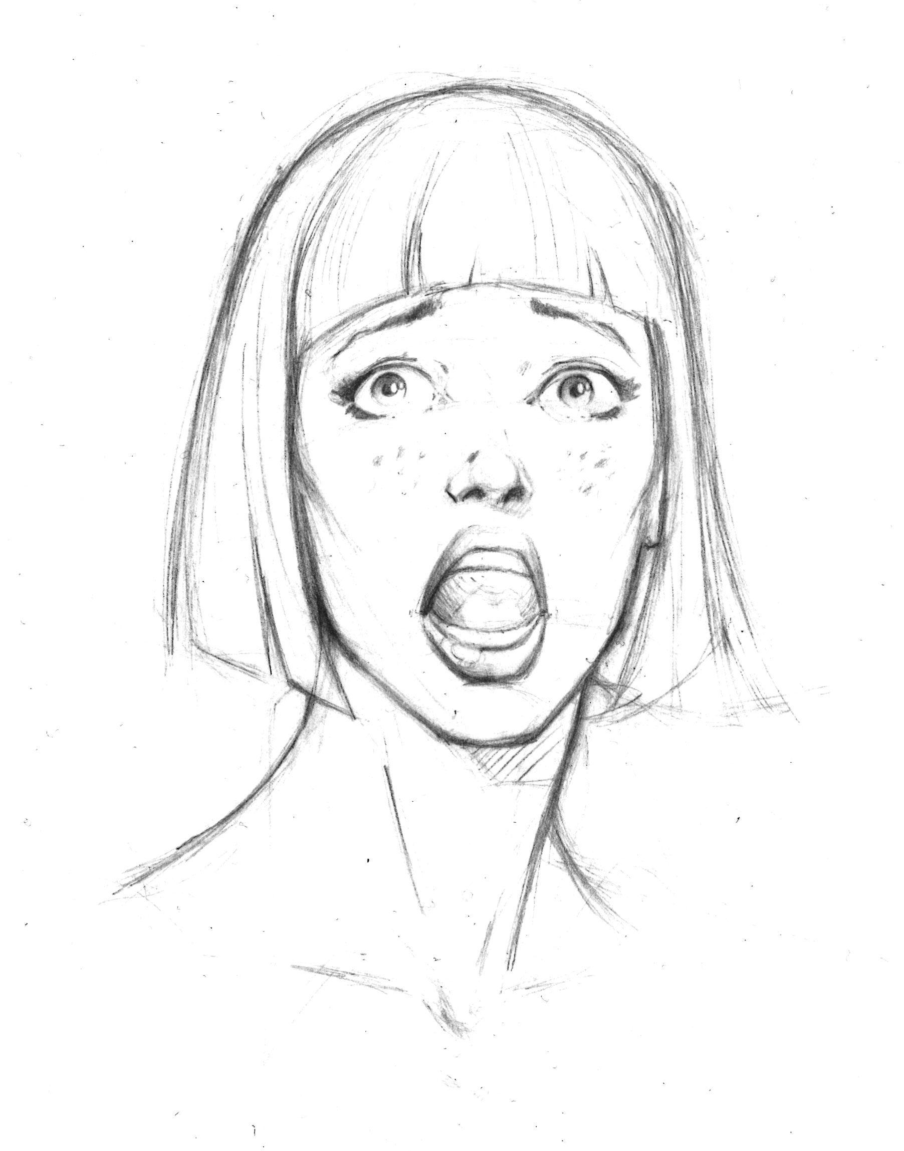 Facial Expression Fear Afraid Human Face Drawing Face Drawing Drawing Expressions