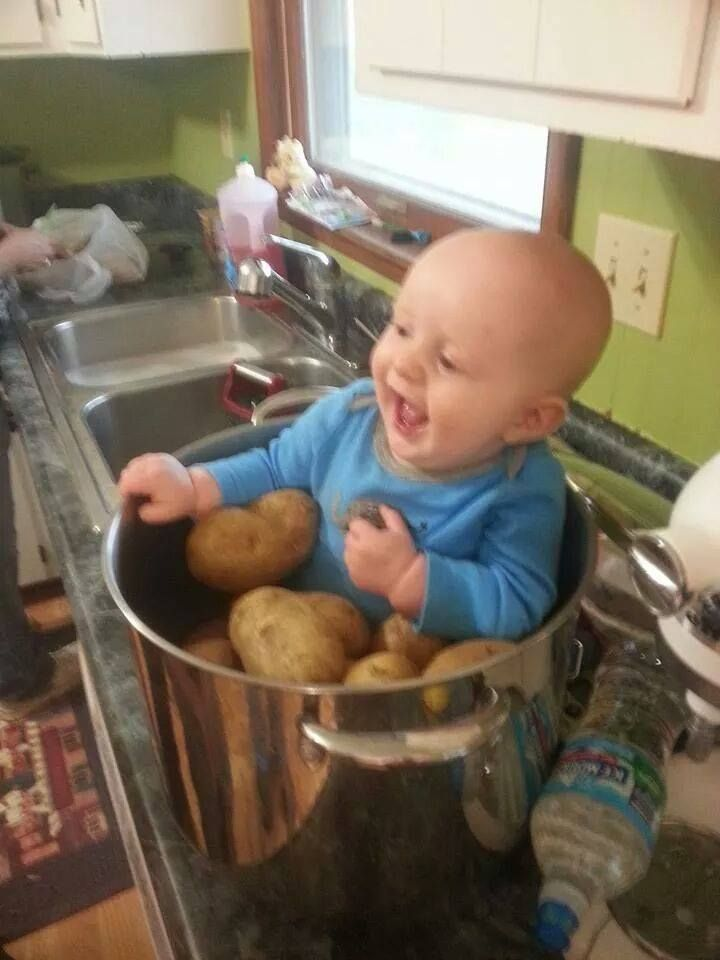 "Because this young one's parents are both ""turkeys"", his auntie decided to add the little sweet meat to the potatoes for our early Thanksgiving, and he was having so much fun, the little butterball!!!!!"
