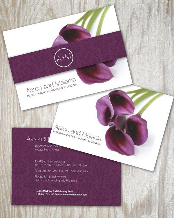 Superbe Purple Calla Lily Wedding Invitation