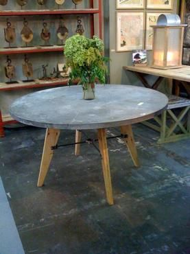 Mecox Gardens   Round Zinc Top Splayed Leg Table Detail
