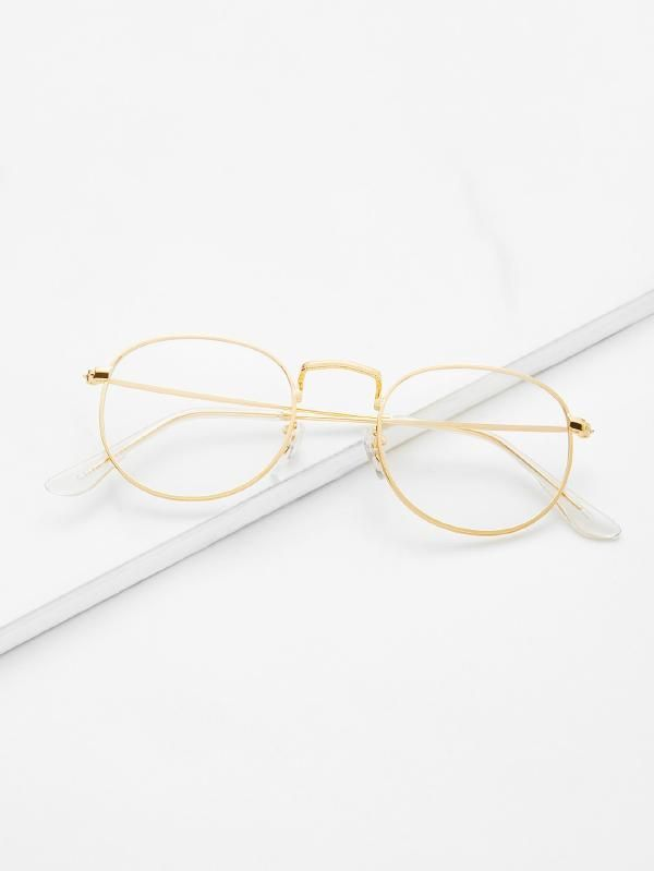 56b1487cd9 Gold Frame Clear Lens Glasses -SheIn(Sheinside)