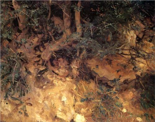 Valdemosa, Majorca Thistles and Herbage on a Hillside - John Singer Sargent