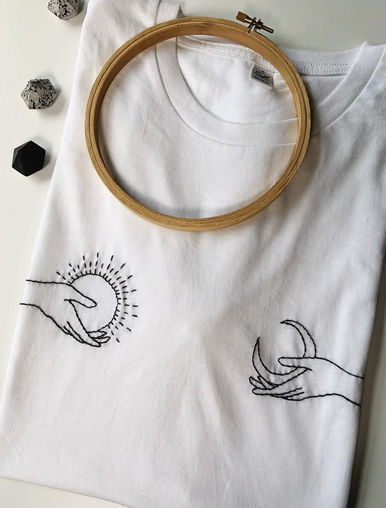 """Self embroidered T shirt """"Be Kind"""" 100% organic cotton – embroidery"""