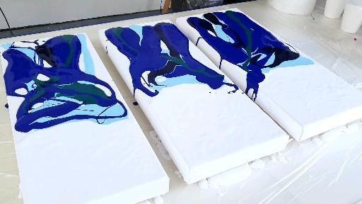 Photo of Fluid Art OCEAN Triptych – Acrylic Pour Painting / dutch pour