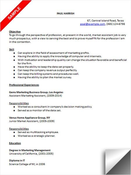 Marketing Assistant Resume Sample  Resume Examples