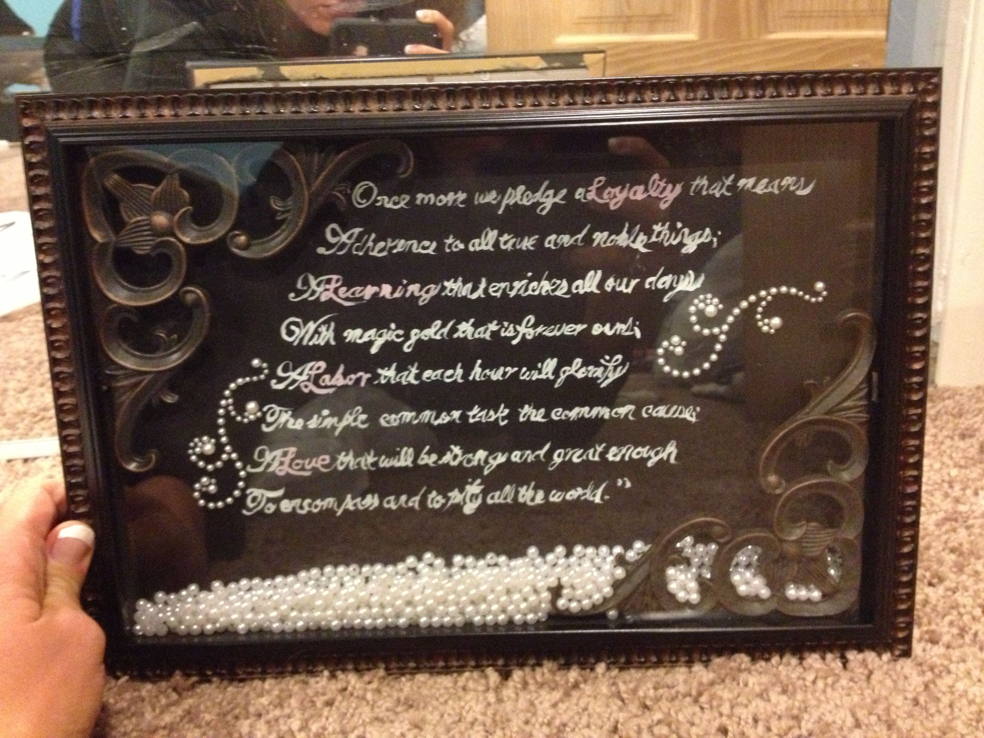 Shadow box frame with pearls in it. Made it for my best friend and ...