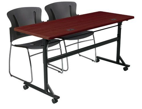 Economy Flipper Training Table Width Color Mahogany By Balt - Lorell flipper training table