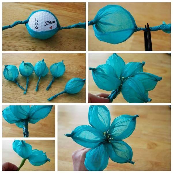 DIY Tissue Flower Using A Golf Ball » Home Best Project